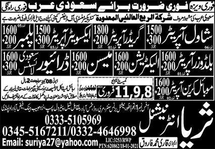 Construction Staff Jobs 2021 in Saudi Arabia
