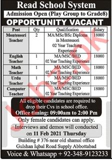 Read School System Abbottabad Jobs 2021 for Teachers