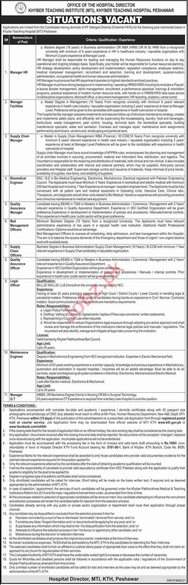 Khyber Teaching Institute KTH MTI Peshawar Jobs 2021