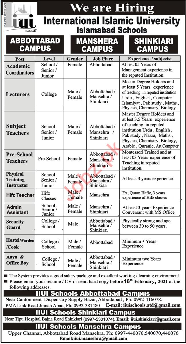 International Islamic University Islamabad Schools Jobs 2021