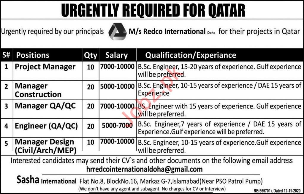 Project Manager & Manager Construction Jobs 2021 in Qatar