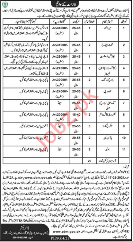 Pakistan Bait ul Mal PBM Skardu Jobs 2021 for Shift Incharge