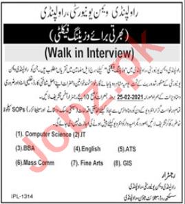 Rawalpindi Women University RWU Faculty Jobs Interview 2021