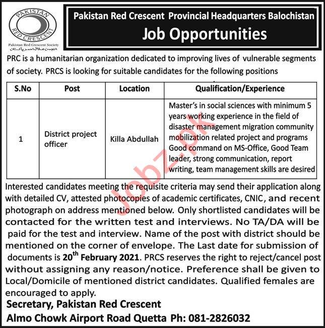 Pakistan Red Crescent Society PRCS Balochistan Jobs 2021