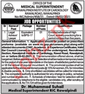 Rawalpindi Institute of Cardiology RIC Jobs 2021 for Lawyer