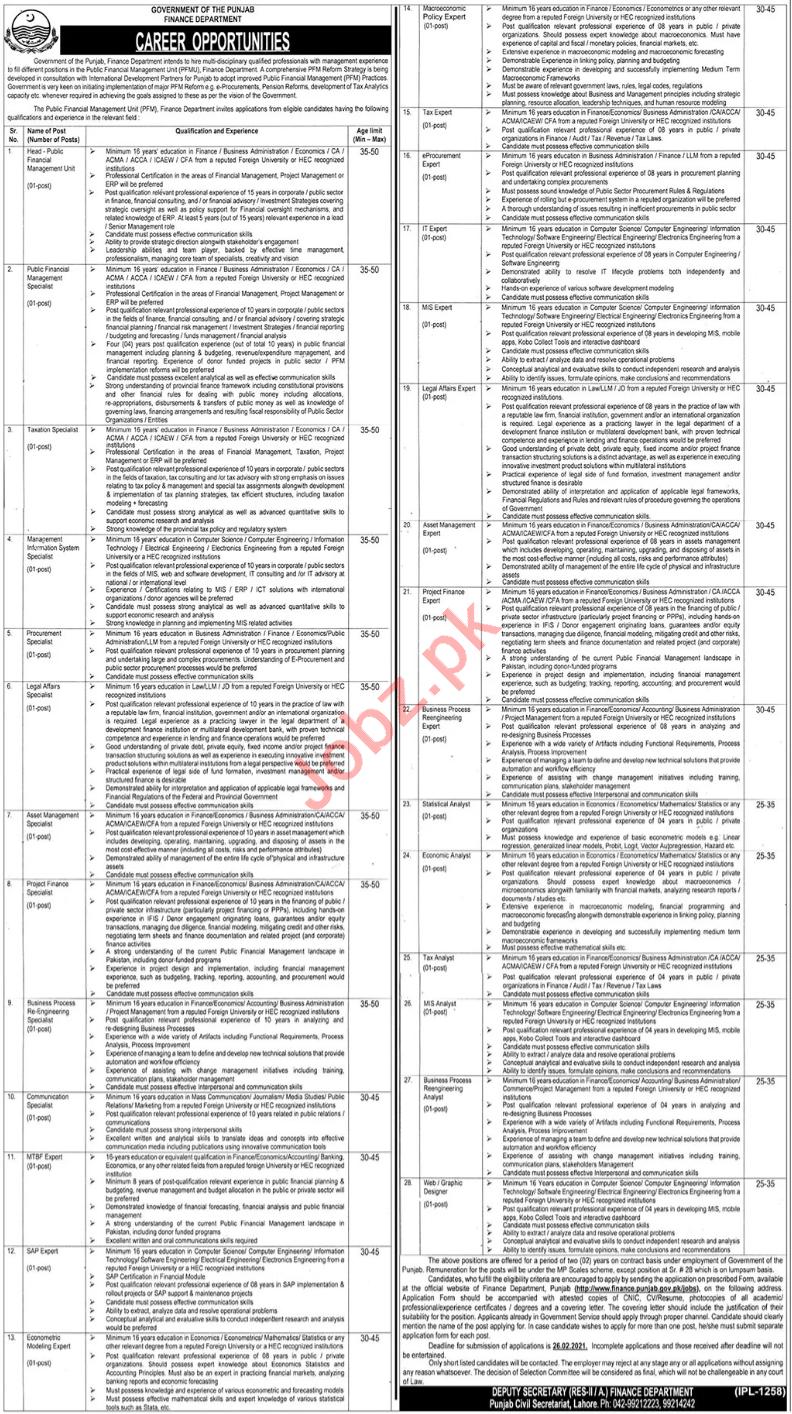 Finance Department Punjab Jobs 2021 for Expert & Analyst