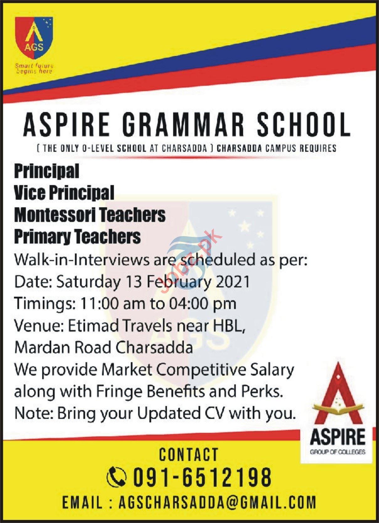 Aspire Grammar School Charsadda Campus Jobs 2021