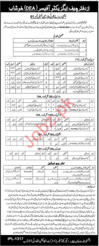District Education Authority DEA Khushab Jobs 2021 for Labor