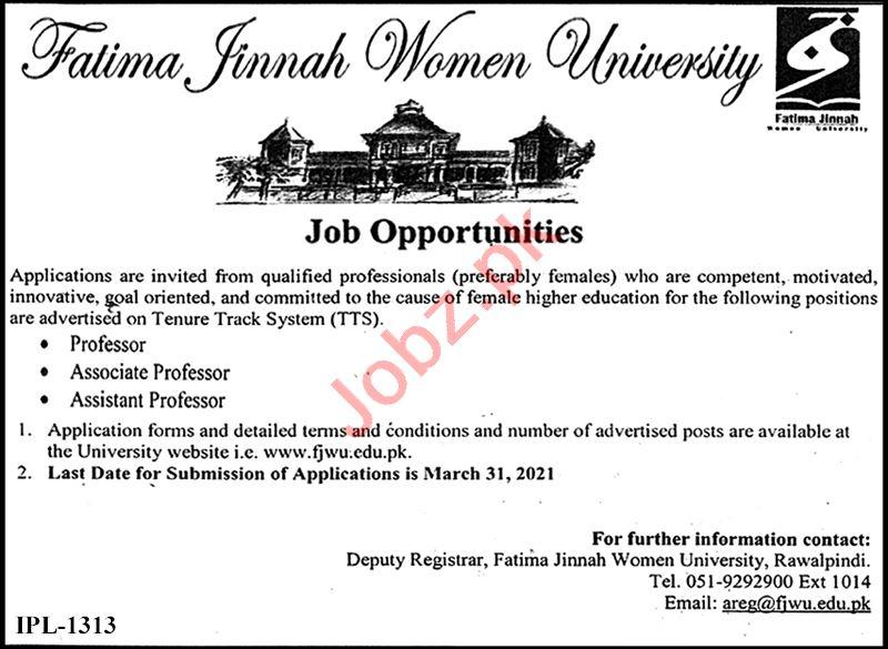 Fatima Jinnah Women University FJWU Rawalpindi Jobs 2021