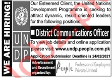 UNDP Jobs 2021 for District Communications Officer