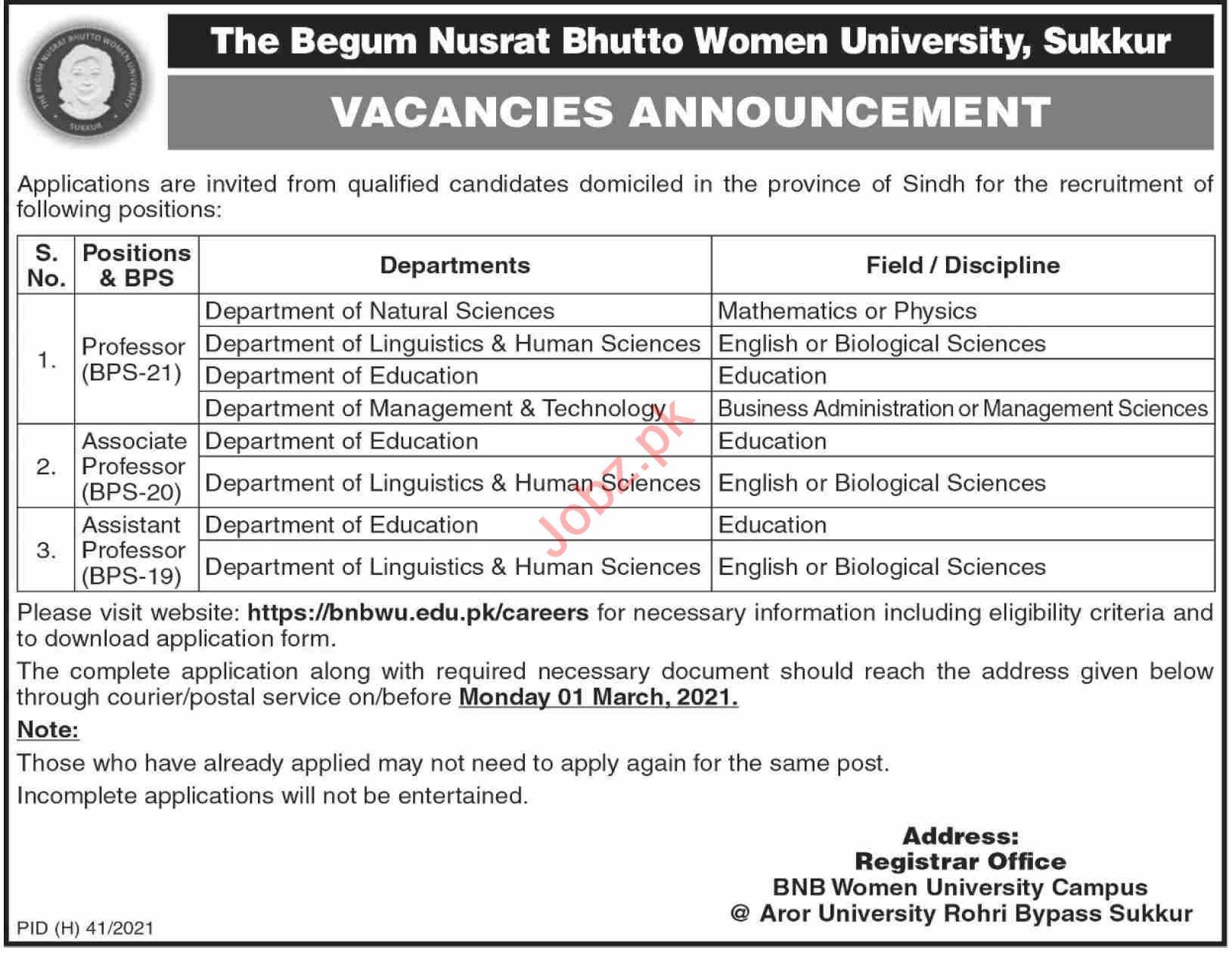 BNB Women University Campus Sukkur Jobs 2021 for Professors