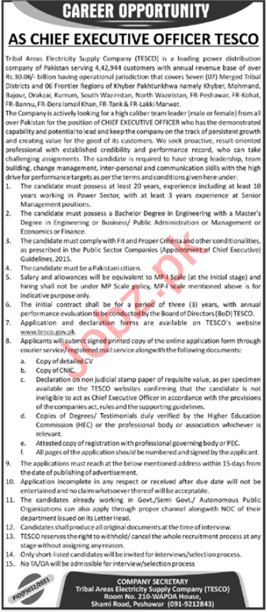 Tribal Areas Electric Supply Company TESCO Jobs 2021 for CEO