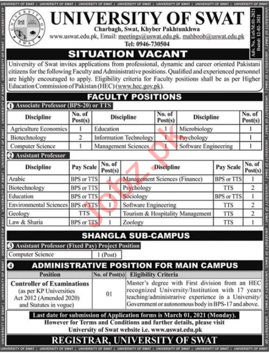 University of Swat Faculty & Non Faculty Jobs 2021