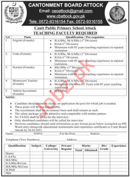 Cantt Public Primary School Attock Jobs 2021 for Teachers