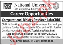 FAST Computational Biology Research Lab CBRL Jobs 2021