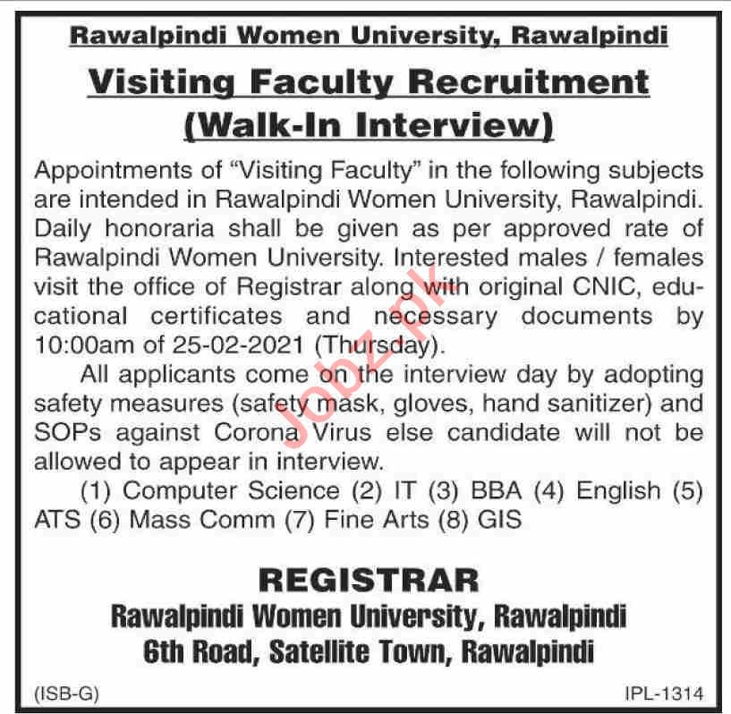 Rawalpindi Women University RWU Jobs 2021 for Professors