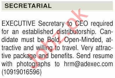 Executive Secretary & Secretary Jobs 2021 in Karachi
