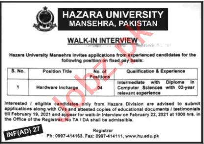 Hazara University HU Mansehra Jobs 2021 Hardware Incharge