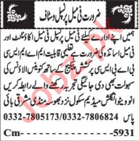 Female Principal & Teacher Jobs 2021 in Quetta