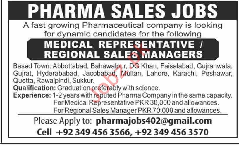 Medical Representative & Regional Sales Manager Jobs 2021