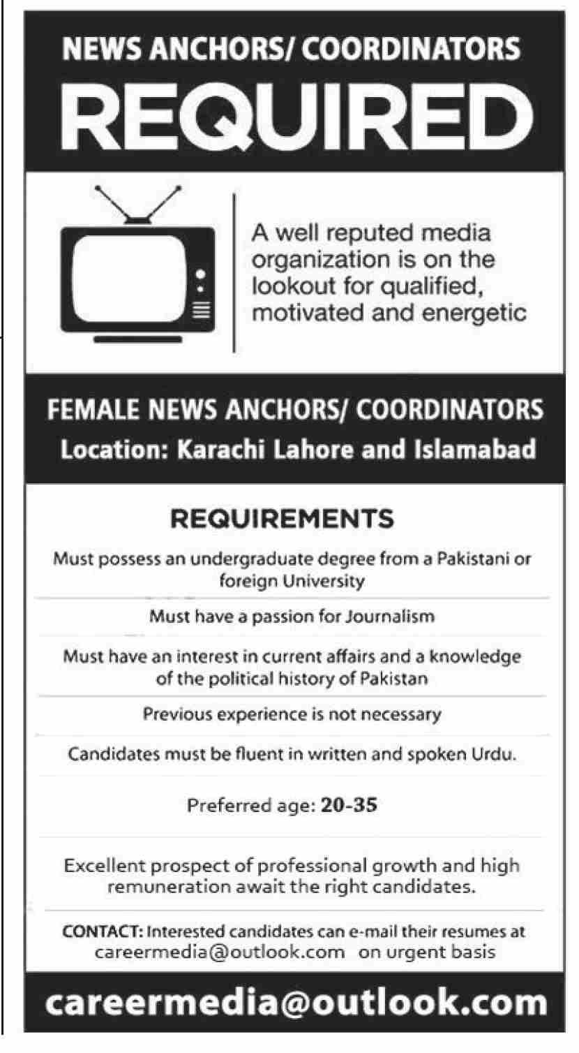 Female News Anchor Coordinator Jobs 2021