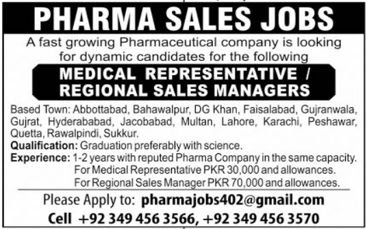 Medical Rep & Sales Manager Jobs in Pharmaceutical Company