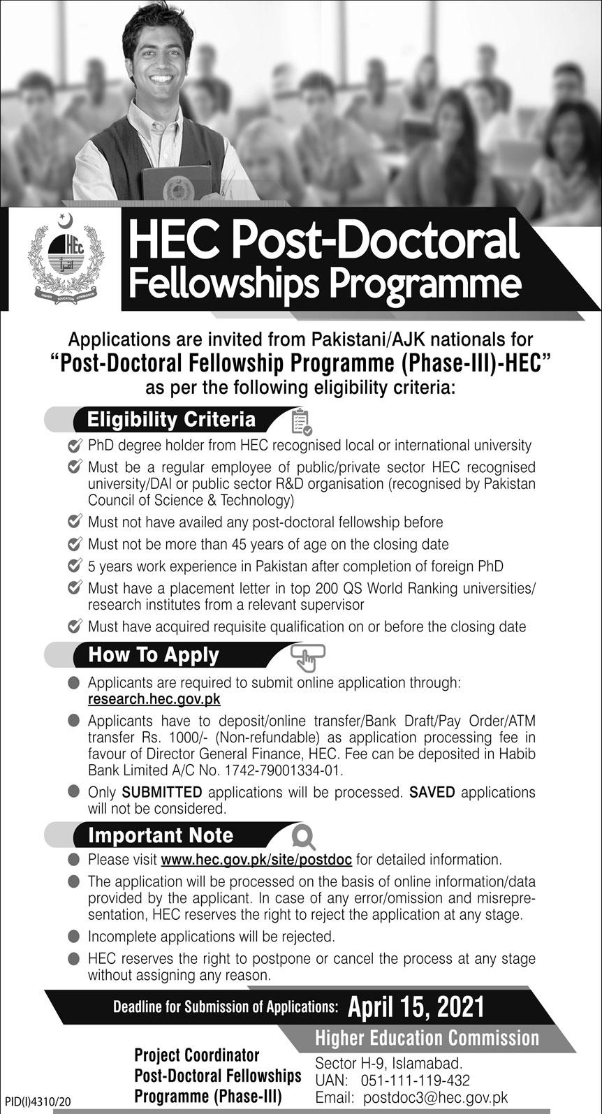 HEC Post Doctoral Fellowships Program