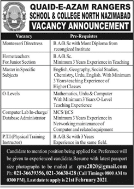 Quaid E Azam Rangers School and College Jobs 2021