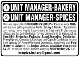 Unit Manager Jobs 2021 for Bakery