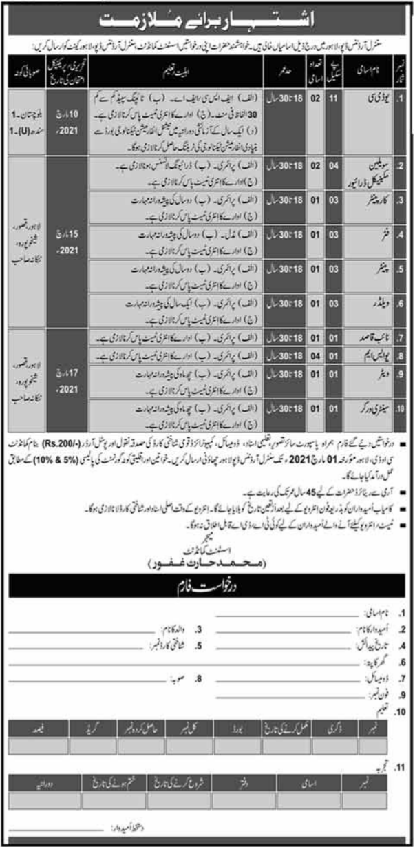 Pak Army Central Ordnance Depot COD Jobs 2021 in Lahore