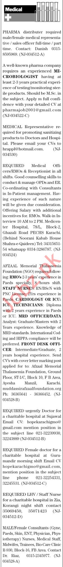 The News Sunday Classified Ads 14th Feb 2021 Medical Staff