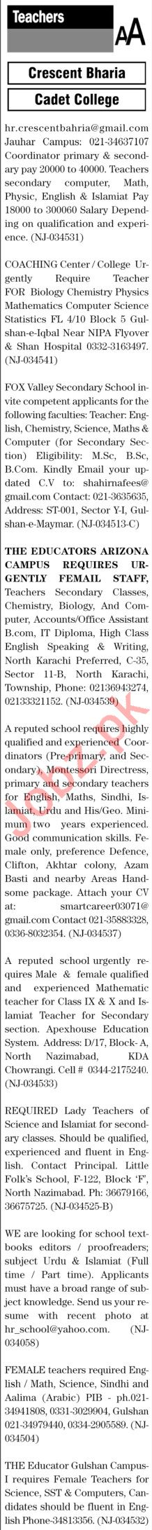 The News Sunday Classified Ads 14th Feb 2021 for Teachers