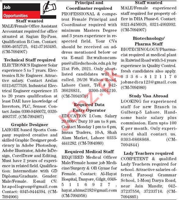 The News Sunday Classified Ads 14th Feb 2021 for Admin Staff