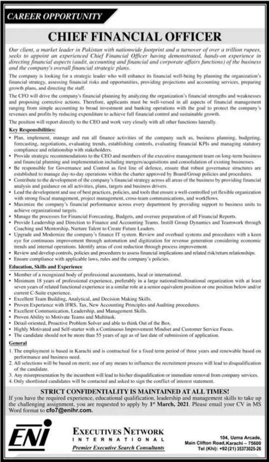 Chief Financial Officer CFO Job 2021 in Karachi