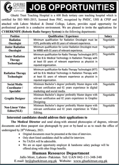 Ghurki Trust Teaching Hospital Jobs 2021 in Lahore