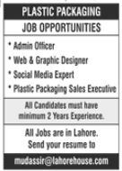 Plastic Packaging Manufacturing Company Jobs 2021