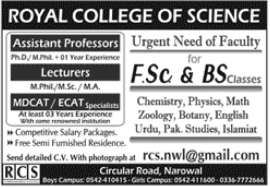 Royal College of Science RCS Faculty Jobs 2021 in Narowal