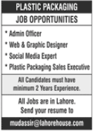 Plastic Packaging Manufacturing Company Jobs in Lahore
