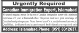 Canadian Immigration Expert Job 2021 in Islamabad