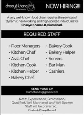 Chaaye Khana Restaurant Jobs 2021 in Islamabad