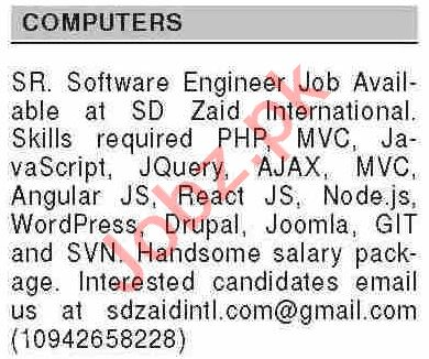 Dawn Sunday Classified Ads 14th Feb 2021 for Computer Staff