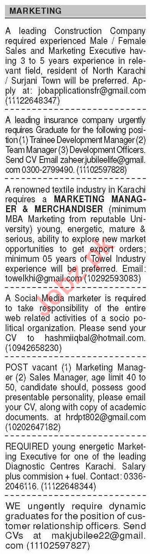 Dawn Sunday Classified Ads 14th Feb 2021 for Marketing Staff