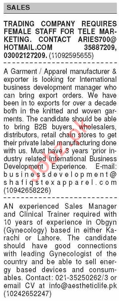 Dawn Sunday Classified Ads 14th Feb 2021 for Sales Staff