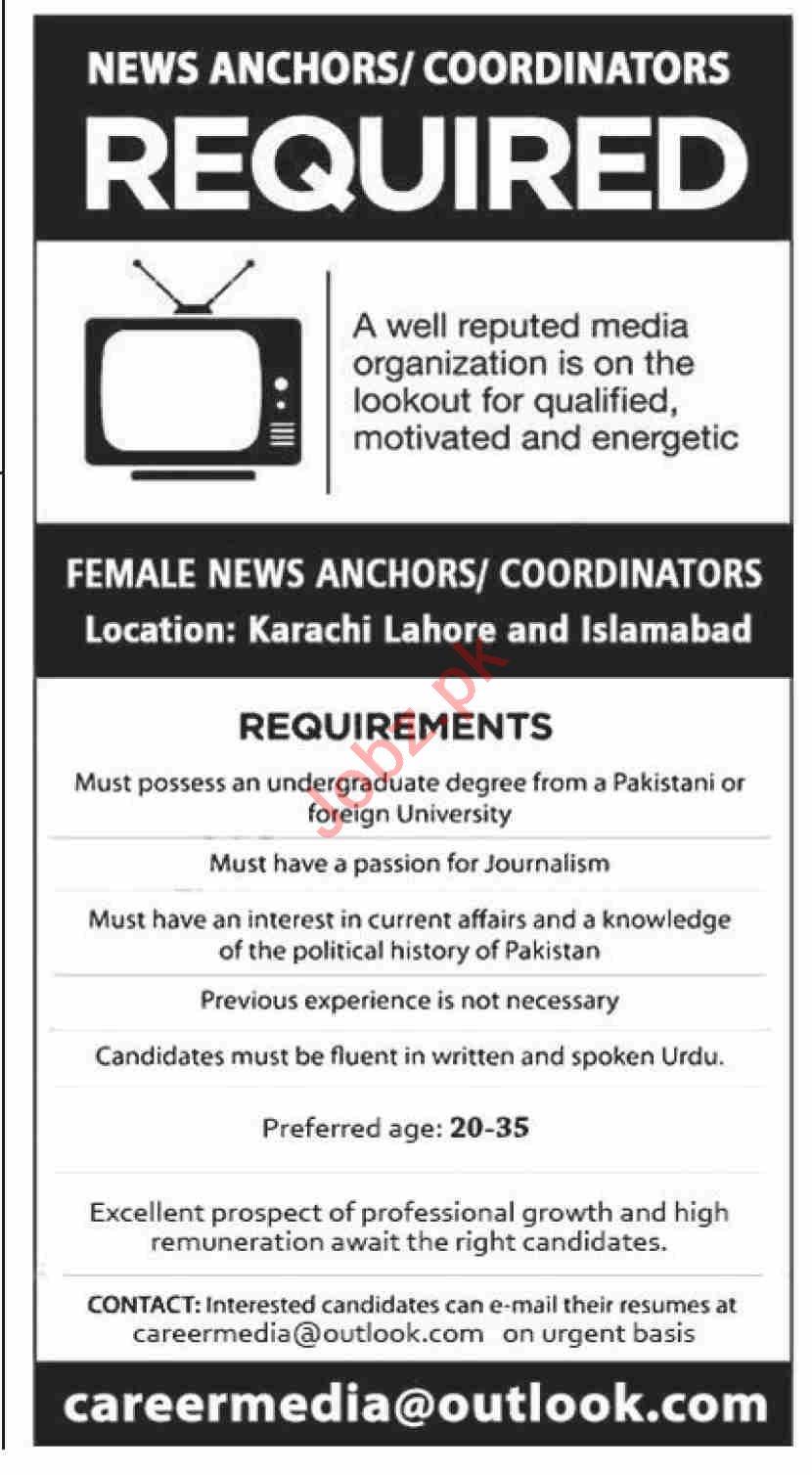 Coordinators & News Anchors Jobs 2021 in Karachi