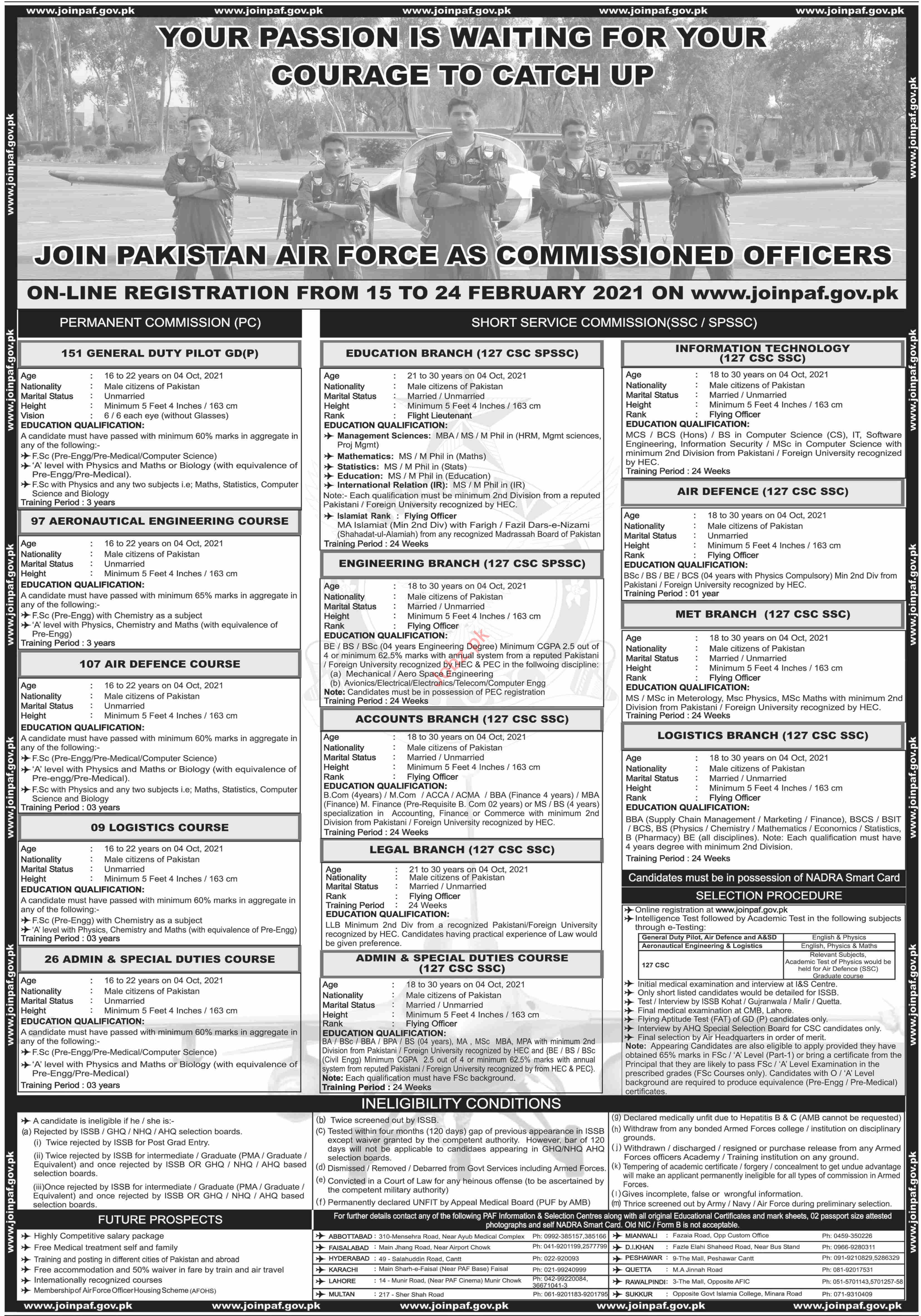 Pakistan Air Force PAF Join As Commissioned Officers