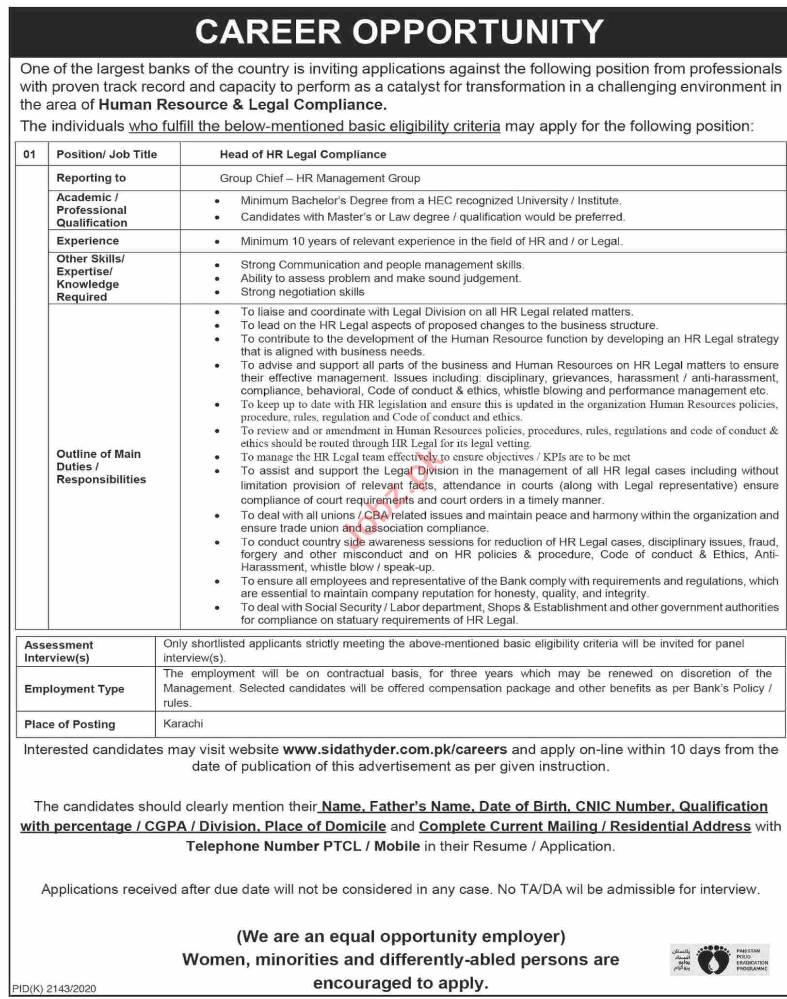 Head of HR Legal Compliance Jobs 2021 in Karachi