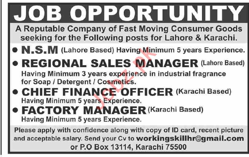 National Sales Manager & Factory Manager Jobs 2021