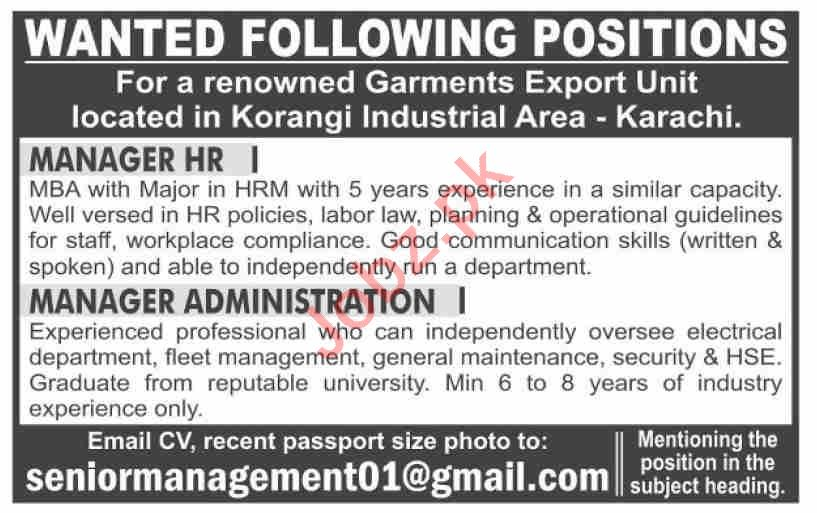 Manager HR & Manager Administration Jobs 2021 in Karachi