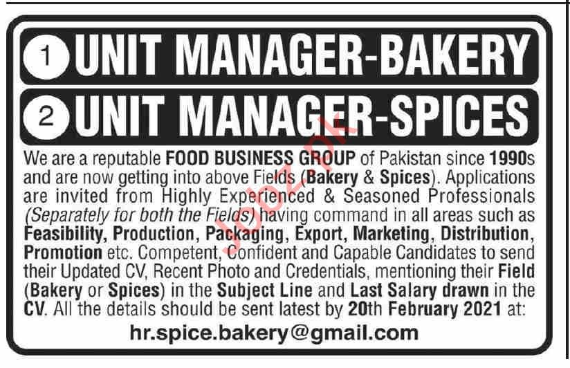 Unit Manager Bakery & Unit Manager Spices Jobs 2021
