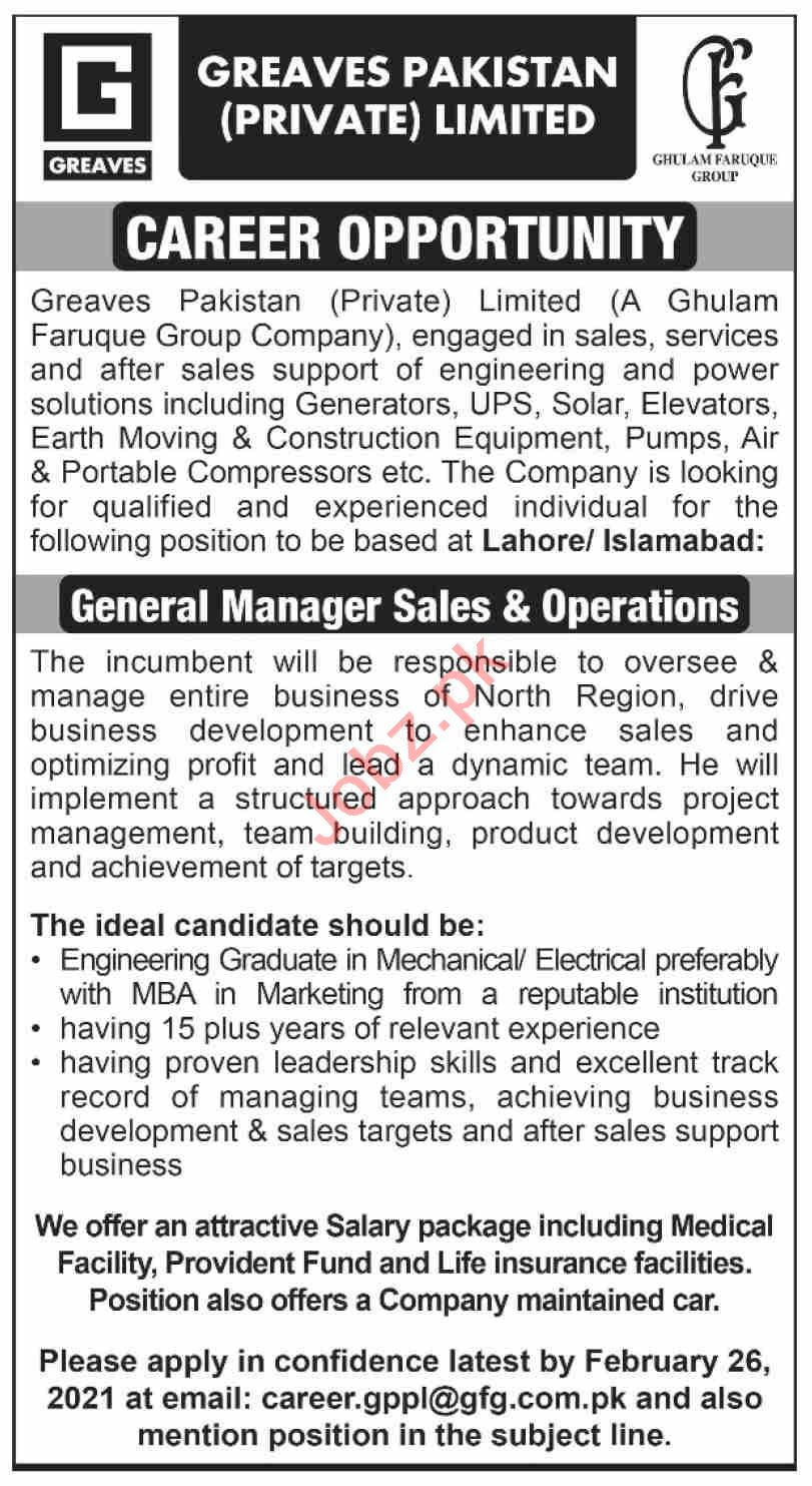 Greaves Pakistan Jobs 2021 for General Manager Sales